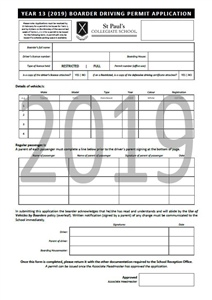 Driving permit application (boarding students)