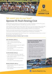 Sponsor the St Paul's Rowing Club